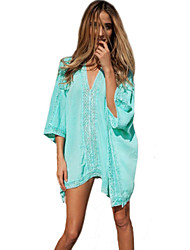 Women's Solid Cotton  Beach Cover Up Sun Prevention Mini Dress