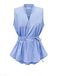 Women's Solid Blue / White Blouse , V Neck Sleeveless