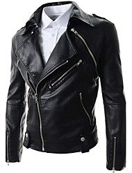 Men's Slim Detachable Sleeve Leather Jacket , Lined