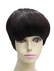 capless court droites sombres mens brun synthétique perruque de cheveux
