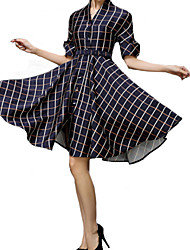 Women's Vintage V Neck Checked Dress
