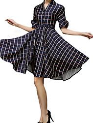 Women's Vintage V Neck Checked Dress