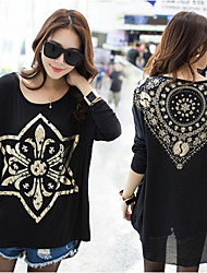 Women's Solid Black Blouse , Round Neck Long Sleeve