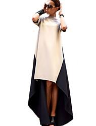 Women's New Patchwork High Collar Dress , Maxi  ½ Length Sleeve