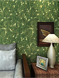 New Rainbow™ Trees/Leaves Wallpaper Contemporary Wall Covering , Non-woven Paper Green Banana Leaf Wallpaper