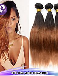 mezclan tamaño 3pcs / lot 12-26inch de color ombre brasileño pelo lacio pelo virginal 1b / 27 del pelo humano sin procesar tejidos venta.