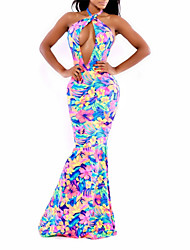Women's Sexy Floral Multi-color Party Night Club Backless Halter Maxi Dress (Random Print)