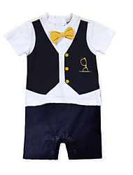 Newborn Baby Boys Gentleman Rompers Clothes Infant Toddler Cotton Short Sleeve Jumpsuit Summer