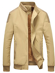 Men's Fashion European Leather Patchwork Stand Collar Plus Velvet Slim Jacket