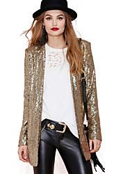 Women's Gold/Silver Blazer , Casual Long Sleeve Sequins