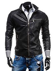 Men's Retro Horizontal Zipper PU Leather Jacket , Lined