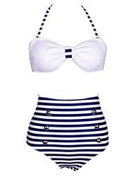 Women's Strips Print White/Navy Blue Bikini, Vintage Halter High Rise