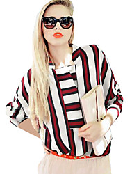 Women's Striped / Color Block Blue / Red / Yellow Shirt , Stand Long Sleeve