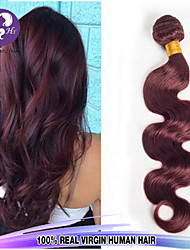 "1 Pcs/Lot 14""-24"" Peruvian Virgin Hair Body Wave Color 99J Unprocessed Raw Human Hair Weaves"