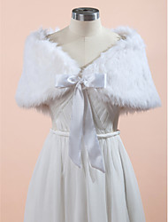 Wedding  Wraps Fur Wraps Capelets Sleeveless Faux Fur White Champagne Gray Wedding Party/Evening Lace-up