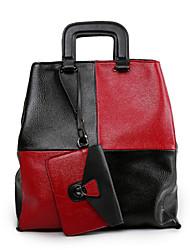 Women PU / leatherette Shopper Shoulder Bag / Tote / Satchel /  Wallet / Storage Bag / Money Clip - Red / Black