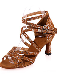 Non Customizable Women's Dance Shoes Flocking Flocking Latin Sandals Flared Heel Practice / Indoor / Performance Black / Brown / Gold