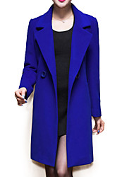 Women's Coat,Solid / Patchwork Peaked Lapel Long Sleeve Winter Blue / Black / Yellow Wool / Others Thick