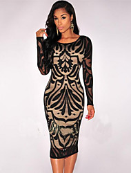 Women's Fashion Party Vintage Print Round Neck Long Sleeve Slim Backless Dress