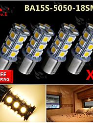4x quentes BA15S brancos 1156 rv reverter 18 levaram traseiras carro SMD lâmpadas de sinalização de turno luz