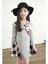 Girl's Spring / Fall Cotton Sequin Long Sleeveed Plaid Umbrella Skirt Bowknot Princess Dress