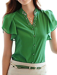 Women's Solid Blue/White/Green T-shirt,Casual V Neck Short Sleeve Beaded