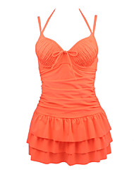Women's Halter Push Up Slim Tummy Control Tankini Swim Dress