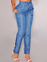 Women's Blue Denim Belted High Waist Harem Pants