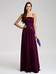 Floor-length Chiffon Bridesmaid Dress Sheath / Column Strapless with Side Draping