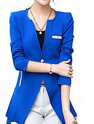 Women's Fall Blazer,Solid One Shoulder Long Sleeve Blue / Purple Polyester / Others Thick