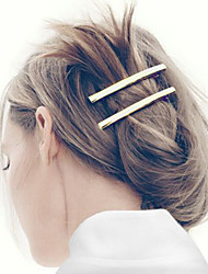 Women Fashion Simple Smooth Geometric Metal Bar Pattern Hairpin Hair Accessories Jewelry 1pc