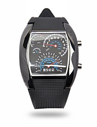 Sport Style Rubber Band LED Car Digital Watch/Table with Blue Light Display Time Arch Shaped(Assorted Colors)