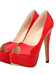 Women's Shoes Leatherette Stiletto Heel Heels / Peep Toe / Platform / Open Toe Heels Party & Evening / Dress /  Red /
