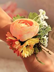 Fleurs de mariage Rond Roses Petit bouquet de fleurs au poignet Mariage / Le Party / soirée Bleu / Rose / Vert / Beige / Champagne