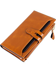 Women 's Oil Wax  Genuine Leather  Large capacity Clutches Wallet Fashion Carved Pulling Belt uckle  Zipper Handbags