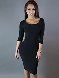 Women's  Irregular Cutout Back Sleeved Midi Dress