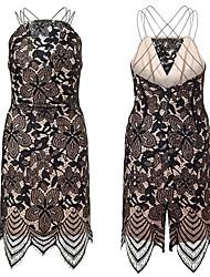 Women Dress Lace Spaghetti Strap Backless Zipper Back Sleeveless Clubwear Party Dress