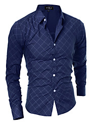 Men's Fashion Obscure Quilted Design Slim Fit Long-Sleeve Shirt