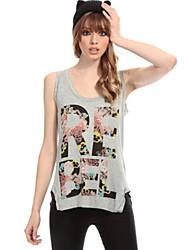 Ronde hals - Polyester - Bloem - Vrouwen - T-shirt - Mouwloos