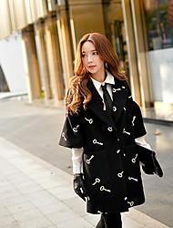 DABUWAWA Women's 2015 Winter New Korea Long Coat, Jacquard Black Coat , Work ½ Length Sleeve Wool / Polyester