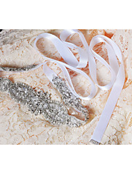 Satin Wedding / Party/ Evening / Dailywear Sash-Sequins / Beading / Appliques / Pearls / Crystal Women's 98 ½in(250cm)Sequins / Beading /