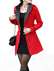 Women's Casual/Daily Coat,Solid Notch Lapel Long Sleeve Winter Red / White / Yellow Wool / Acrylic / Polyester Thick