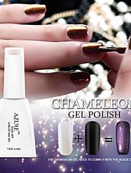 azure beleza 3d colorido fantasma gel unha polonês gel camaleão e casaco preto polonês gel uv