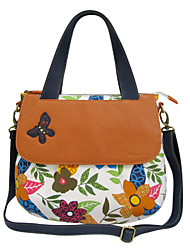Women Bags All Seasons Cowhide Canvas Tote with for Casual Screen Color