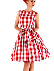 Women's Going out Vintage Skater Dress,Plaid Boat Neck Above Knee Sleeveless Red Cotton / Polyester Summer