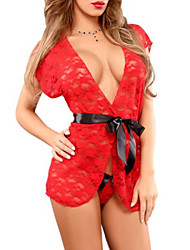 Women Lace Lingerie Robes Nightwear Solid Lace Red Black