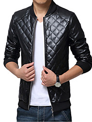 Men's Fashion Slim Plaid Motorcycle Leather Coat