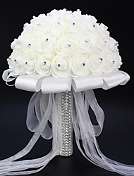 "Bouquets de Noiva Redondo Rosas Buquês Casamento Branco Cetim Elástico / Espuma 7.48""(Aprox.19cm)"