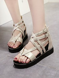 Women's Shoes Leatherette Wedge Heel Wedges Sandals Dress / Casual Black / White / Gold