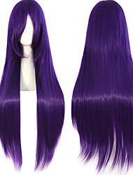 Anime Cosplay Female Purple 100cm Long Straight Hair Wig High Temperature Hair